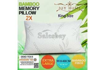 2x MULTI Extra Large 90x48cm King Size Bamboo Pillow Memory Foam Fabric Fibre w Contour Cover
