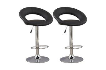 2x Kitchen Bar Stools Gas Lift Stool Chairs Swivel Barstools PU Leather Black