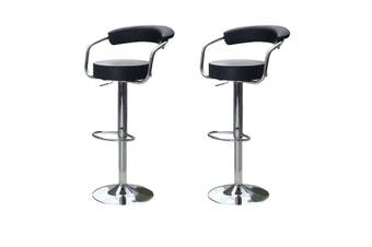2x Black Kitchen Bar Stools Gas Lift Stool Chairs Swivel Barstools PU Leather