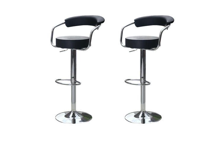 2x Black Kitchen Bar Stools Gas Lift Stool Chairs Swivel Barstools PU Leather