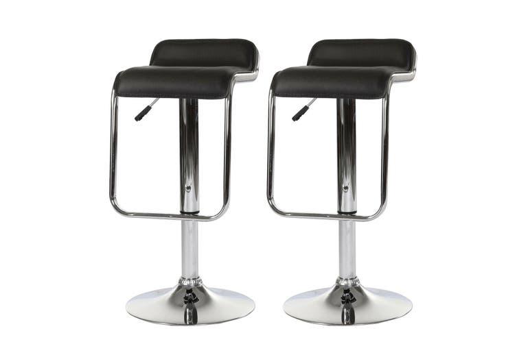 2x Black Kitchen Bar Stools Gas Lift Stool Chairs Swivel PU Leather Barstools
