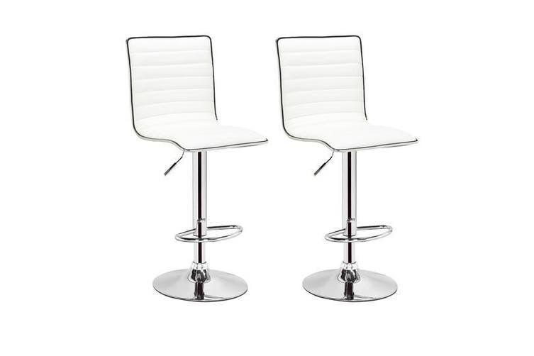 2x White Kitchen Bar Stools Gas Lift Stool Swivel Chairs PU Leather Barstools