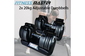 Fitness Master 2x20kg Adjustable Dumbbell Home Gym Exercise Equipment Weights Fitness 40kg Workout