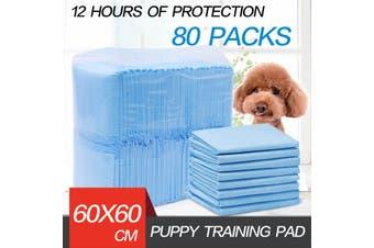 80pcs Puppy Pet Dog Indoor Cat Toilet Training Pads Absorbent Thin 60X61cm Blue