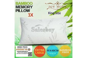 3x MULTI Extra Large 90x48cm King Size Bamboo Pillow Memory Foam Fabric Fibre w Contour Cover