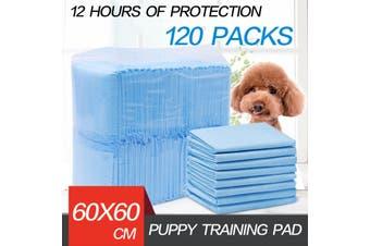 120pcs Puppy Pet Dog Indoor Cat Toilet Training Pads Absorbent Thin 60X62cm Blue