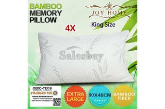 4x MULTI Extra Large 90x48cm King Size Bamboo Pillow Memory Foam Fabric Fibre w Contour Cover