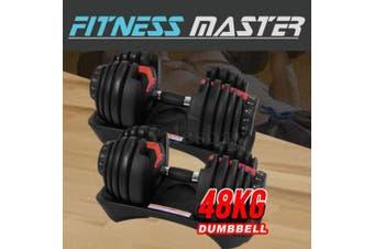 48kg Adjustable Dumbbell Set Home GYM Exercise Equipment Weight 2x 24kg