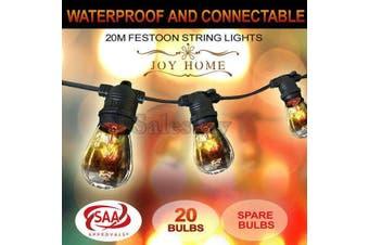 20m Festoon String Lights Light Wedding Party Christmas Waterproof Outdoor
