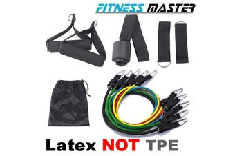 Latex 11PCS Heavy Duty Resistance Band Tube Power Gym Yoga Training Fitness