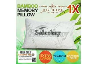 1x Extra Large 74x48cm Queen Size Bamboo Pillow Memory Foam Fabric Fibre Contour Cover
