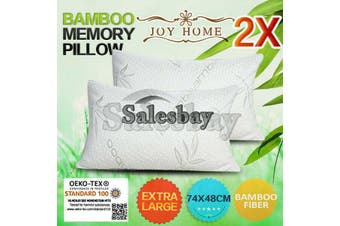 2x Extra Large 74x48cm Queen Size Bamboo Pillow Memory Foam Fabric Fibre Contour Cover