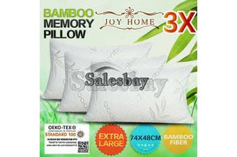 3x Extra Large 74x48cm Queen Size Bamboo Pillow Memory Foam Fabric Fibre Contour Cover