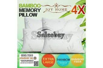 4x Extra Large 74x48cm Queen Size Bamboo Pillow Memory Foam Fabric Fibre Contour Cover