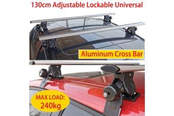 130cm Cross Bar Universal Lockable Aluminium Car Roof Rack Adjustable  Alloy Sedan Ute Luggage Carrier