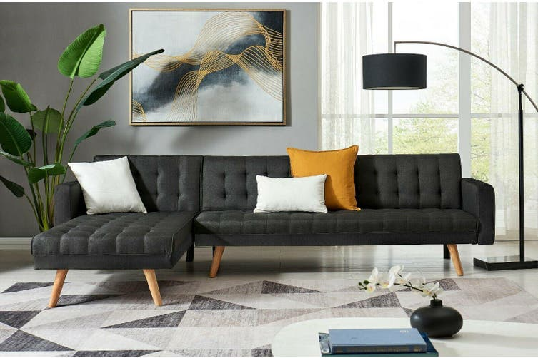 2.8M Linen Fabric 5 Seater Sofa Bed Modular Recliner Corner Futon Lounge Couch-Full Black-Black Foot