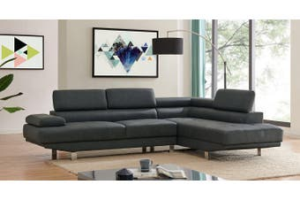 Right Corner 2.8m Modern Black Fabric Sectional Sofa Chaise Lounge Suite Couch Furniture