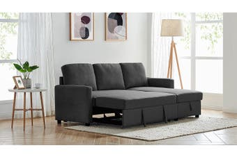 2m Grey Linen Fabric 3 Seater Pullout Sofa Bed Modular with Storage Chaise Futon Corner Black Color