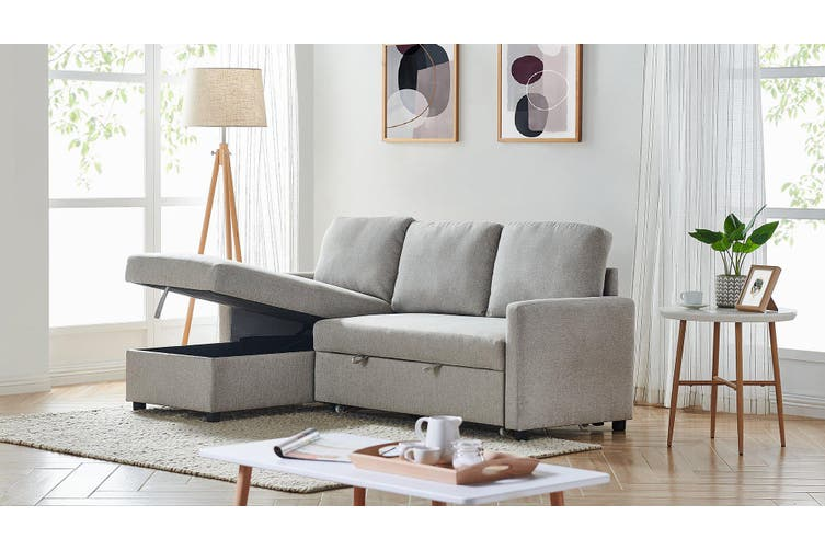 2m Grey Linen Fabric 3 Seater Pullout Sofa Bed Modular with Storage Chaise Futon Corner Grey Color