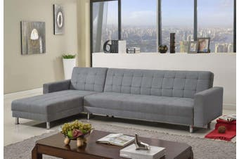 Sofa bed 3m Linen Fabric 8 Seater Recliner Coner Funton Couch Lounge Full Grey Color