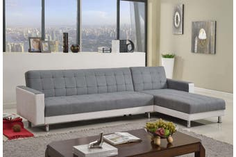 Sofa bed 3m Linen Fabric 6 Seater Recliner Coner Funton Couch Lounge Grey and White Color