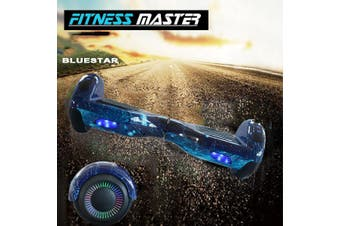 6.5inch Aluminium Wheel Self Balancing Hoverboard Electric Scooter Bluetooth Speaker LED Lights Waterproof Hover Board-Blue Star