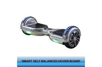 6.5inch Aluminium Wheel Self Balancing Hoverboard Electric Scooter Bluetooth Speaker LED Lights Waterproof Hover Board-Chrome
