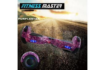 6.5inch Aluminium Wheel Self Balancing Hoverboard Electric Scooter Bluetooth Speaker LED Lights Waterproof Hover Board-Purple Star