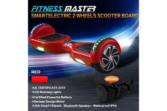 6.5inch Aluminium Wheel Self Balancing Hoverboard Electric Scooter Bluetooth Speaker LED Lights Waterproof Hover Board-Red