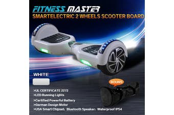 6.5inch Aluminium Wheel Self Balancing Hoverboard Electric Scooter Bluetooth Speaker LED Lights Waterproof Hover Board-White