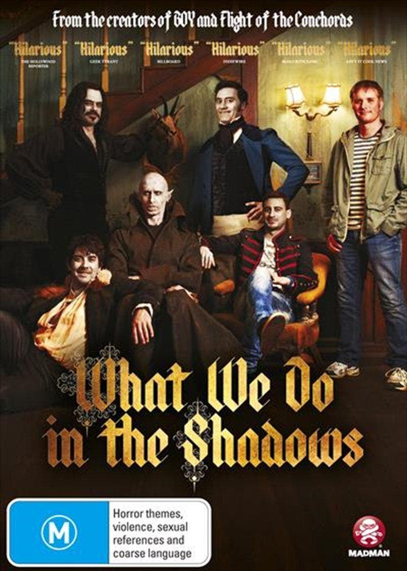 What We Do In The Shadows DVD Some interviews with some vampires    Flatmates Viago (Taika Waititi), Deacon (Jonny Brugh), and Vladislav (Jemaine Clement) are three vampires who are just trying to get by in modern society; from paying rent and sticking to the housework roster to trying to get invited in to nightclubs, they're just like anyone else – except they're immortal and must feast on human blood. When their 8000 year-old flatmate, Petyr, turns 20-something human hipster, Nick, into a vampire, the guys must teach him the ropes and guide him through his new found eternal life. And in return they are forced to learn a thing or two about modern society, fashions and technology. But its the introduction of Nicks human friend, Stu, that really changes the vampires lives and attitudes towards the ever-changing world around them. When Stu's life is threatened, the vamps show us that maybe humans are worth fighting for, and that even though your heart may be cold and dead, it doesn't mean you can't feel anything.