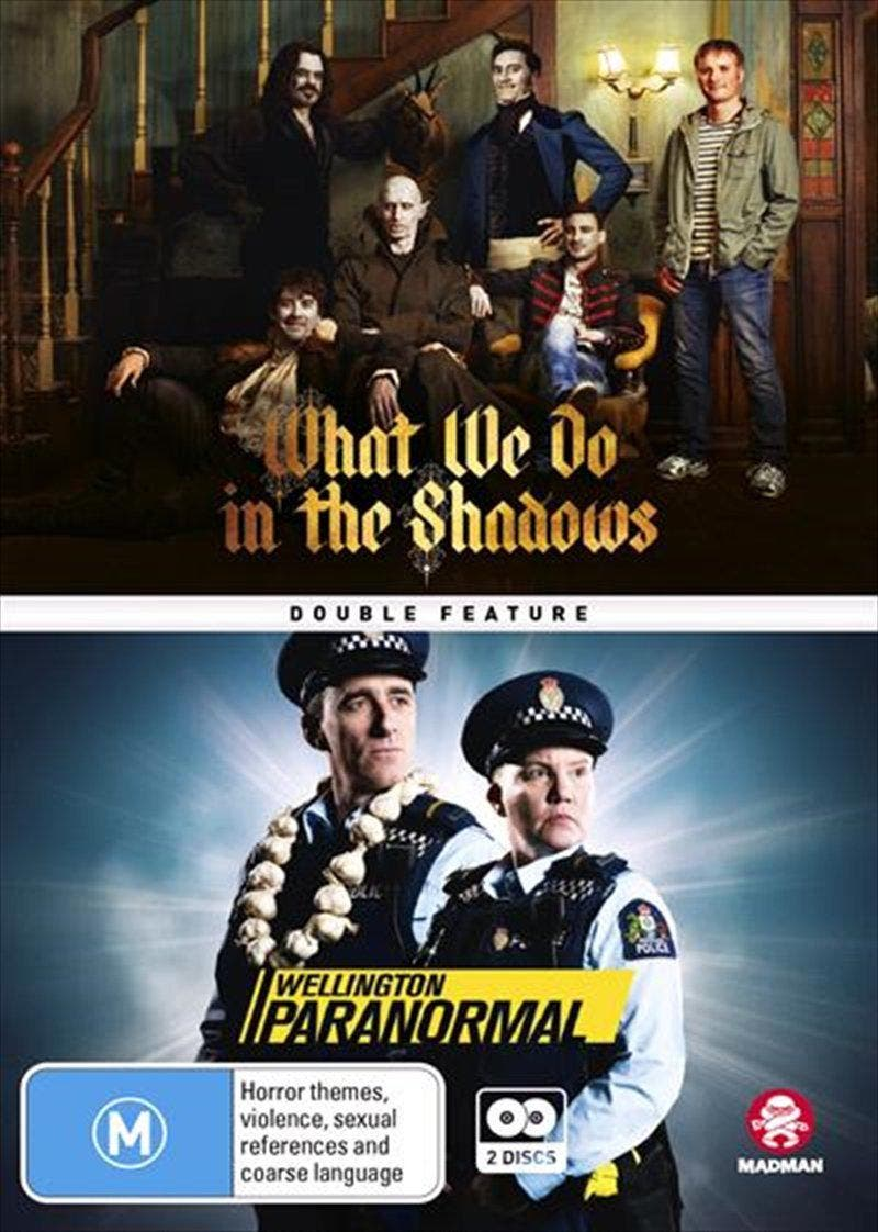 What We Do In The Shadows / Wellington Paranormal DVD Double the laughs    Double pack containing the blockbuster movie and hit spin-off TV series: – WHAT WE DO IN THE SHADOWS – WELLINGTON PARANORMAL