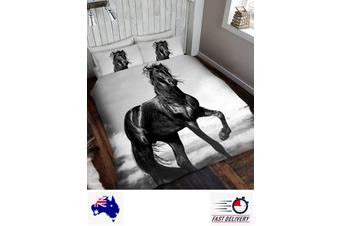 Black Stallion Horse Quilt Doona Duvet Cover Set (Single)