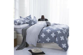 Cross Stripes grey Quilt Cover Set (Queen)
