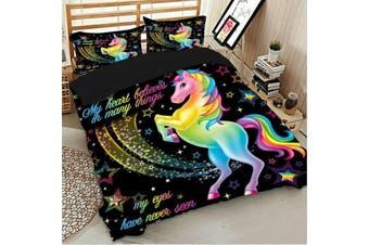 Unicorn Rainbow Quilt duvet doona cover set, girls (King)