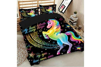 Unicorn Rainbow Quilt duvet doona cover set, girls (Single)