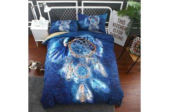 Blue Dream Catcher Feather  Quilt Cover Set (Single)