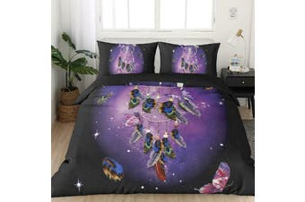 Dream Catcher Purple Quilt duvet doona cover set, butterfly, Bohemian (Double)