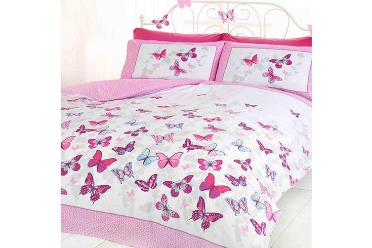 Girls Pink Butterflies Quilt Cover Set (Single)