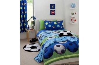Boys Soccer Football Quilt  Cover Set Cotton Blend Blue (Double)