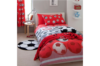 Boys Soccer Football  Quilt  Cover Set Cotton Blend Red (Double)