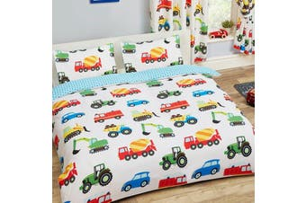 Truck Construction Roadworks Quilt Cover Set (Double)
