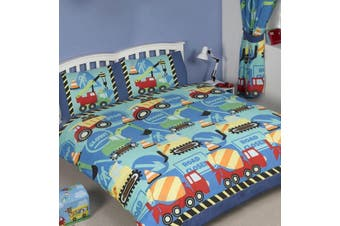 Boys Truck Construction Quilt Cover Set (Double)