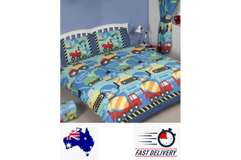 Construction Trucks Boys Quilt Duvet Doona Cover Set (Double)