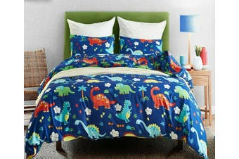 Dinosaur Blue Quilt Cover Set, kids,t rex (Double)