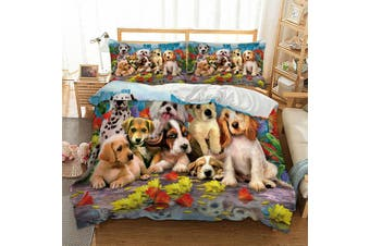 Dog Puppies Quilt Cover Set (Double)