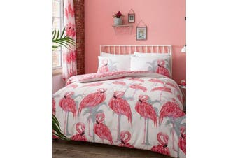 Flamingo Palm Leaf Quilt Cover Set (Double)