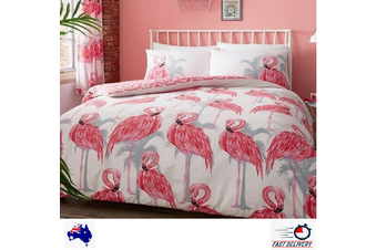 Flamingos Palm leaf Quilt Doona Duvet Cover Set (Double)