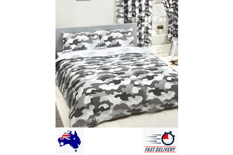 Army Grey Camouflage Double/Queen Quilt duvet doona cover set (Double)
