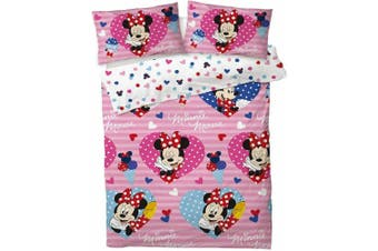 Minnie Mouse Hearts Quilt duvet doona cover set (Double)